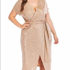 Cocktail Gold Sexy Dress w/Rose Print